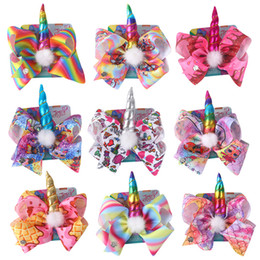 New baby hair online shopping - new cartoon doll Hair Bows girl Bows With Clip For Baby Children Large Sequin Bow Unicorn hair Bows DHL free
