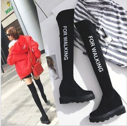 $enCountryForm.capitalKeyWord Australia - European and American Fashion, Leisure, Simple English Alphabet Elastic Leather Over Knee Boots, Boots and Suede Inside Heightening Girls Bo