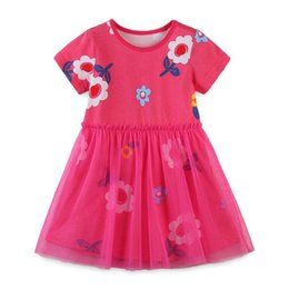 baby girl dresses flower printed NZ - Spring Baby Girls Cotton Short Sleeve Flower print Dress Rose red colour children lace dresses