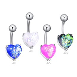 Ceramics Piercing UK - 4 Colors Fantastic Opal 316L Stainless Steel Jewelry Navel Bars Silver Belly Button Ring Navel Body Piercing Jewelry