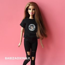 $enCountryForm.capitalKeyWord Canada - 2pcs set 1 6 Blyth Doll Clothing Carton Casual T-shirt + Jeans For 30cm Blyth Pullip Girl Pants Doll Accessories For Barbie Doll Q190521