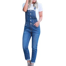 Stretch Club Jumpsuit Australia - Women Casual Denim stretch Bib denim with button Slim strap Pants Overalls Blue Jeans Demin Trousers Jumpsuit Party Club Daily