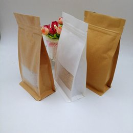 $enCountryForm.capitalKeyWord NZ - 14x24x6cm 50pcs White Brown Kraft Paper Bag For Gifts Christmas Food Tea Candy Zip Lock Kraft Paper Bag With Window Stand Pouch