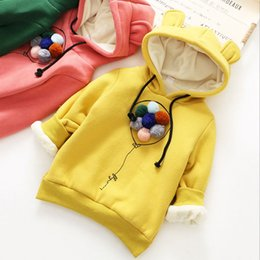 Flower Girls Size 16 NZ - 2019 new winter jacket girls item girl flower cute warm and thick hooded top with colorful balls and ears rain coat set SIZE 16 kids gloves