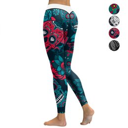 02cada09866223 Women Yoga Pants Elastic Printed Leggings Tights Compression Skinny Pants  Running Jogging Fitness Gym Training Workout