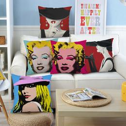 $enCountryForm.capitalKeyWord NZ - 6 Styles American POP Art Cushion Covers Marilyn Monroe Audrey Hepburn Portrait Cushion Cover Bedroom Decorative Linen Pillow Case