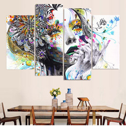 $enCountryForm.capitalKeyWord Australia - Canvas Painting Wall Art 4 Piece Sad Beautiful Woman Pictures Home Decor Living Room Modular HD Printed Colorful Poster Frame