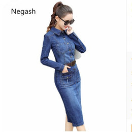 $enCountryForm.capitalKeyWord Australia - S-2xl Korean Spring Autumn Women Denim Dress Vintage Long Sleeve Ladies Jean Mid-Calf Dresses Blue 2018 Stretch Jean Dresses