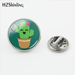 $enCountryForm.capitalKeyWord Australia - 2019 New Cute Cactus Characters Clasp Pin Stainless Steel Prickly Pear Cartoon Lapel Pin Round Glass Cabochon Jewelry