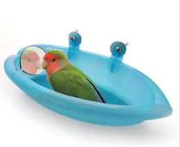 Großhandel Parrot Badewanne mit Spiegel Pet Cage Spiegel Badewanne Dusche Box Vogelkäfig Pet Kleiner Vogel Papageienkäfig Vogelspielzeug