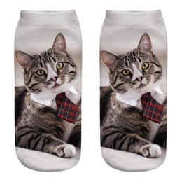 $enCountryForm.capitalKeyWord NZ - Funny 3D Fashion Cat Socks Printed Casual Socks Cute Low Cut Ankle Antibacterial Sock Soxs Popular Meias Chaussette
