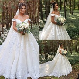 $enCountryForm.capitalKeyWord Australia - 2020 Glamorous Cap Sleeve 3D Flowers Lace Wedding Dresses Off Shoulder Full Appliqued Plus Size Bridal Country Wedding Gowns