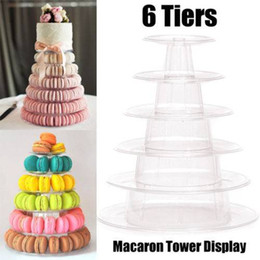 cupcake display stands Canada - 6 Tiers Round Macaron Tower Cake Stand Macaron Display Rack for Wedding Birthday Event & Party Supplier Cupcake holder