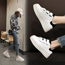 Rubber Summer Hole Shoes Australia - 2019 summer new fashion women shoes casual high platform hole PU leather striped simple women casual white shoes sneakers SP-90