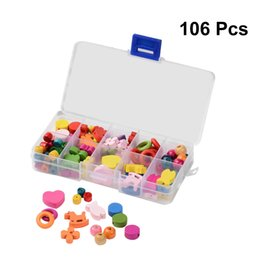 Kids Craft Kits Wholesale UK - 106pcs Mixed Colors Painted Wood Beads Kits for DIY Kids Craft Bracelet Necklace Making