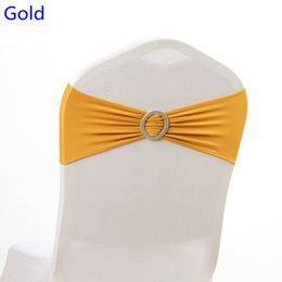 $enCountryForm.capitalKeyWord NZ - Gold colour on sale chair sash with Round buckles for chair covers spandex band lycra sash bow tie wedding decoration