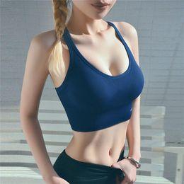 Sports Bra for Women big Girls Fitness Gym Yoga Push Up Crop Tops Elastic letter Tank Vest Designer Underwear FY9004 on Sale