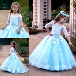 $enCountryForm.capitalKeyWord Australia - Light Sky Blue Lace Ball Gown Flower Girl Dresses For Wedding Beaded Pageant Gowns Tulle Sweep Train Appliqued First Communion Dress