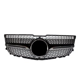 diamond racing 2021 - 1 Piece Top quality GT Style Black Mesh Grilles Replacement Diamond Model Silver Front Racing Grill Grille 2012-2014 For GLK X204