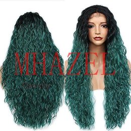 ombre braiding hair 16 inches UK - Braided Curly 1b# Black Ombre Green 16 inch Natural Hairline Middle Part Baby Hair Heat Resistant Fiber 26inch