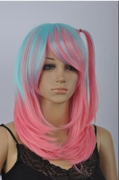 $enCountryForm.capitalKeyWord Australia - WIG LL Hot heat resistant Party hair>>Fashion Pink & Lake blue Mixed Straight Short Cosplay Wig