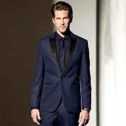 Peak Lapel Suits Australia - Navy Blue Men Suits for Beach Wedding Man Suits Black Peaked Lapel Groom Tuxedos 2Piece Coat Pants Costume Homme Slim Fit Terno Masculino