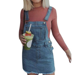 09ec529ed4 MoneRiff 2019 Summer Hem Distressed Sleeveless Ripped Clothes Denim Overalls  Pockets Strap Women Plus Size Casual Denim Dresses