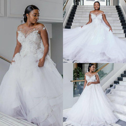 off white maternity wedding dress Canada - Luxury African Plus Size Wedding Dresses White A Line Off Shoulder Pearls Country Castle Wedding Dresses Bridal Gowns 2020 robes de mariée