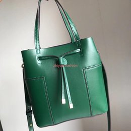 string computers UK - wholesale fashion women bags with full packaging original green Genuine Leather drawstring bags bucket bags DHL free shipping