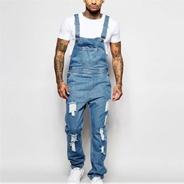$enCountryForm.capitalKeyWord NZ - Jeans Men 2019 New Men's Sling Denim Jumpsuit torn Holes Light blue trousers large size Men's Overalls Size S-XXXL