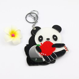 $enCountryForm.capitalKeyWord NZ - Apple panda bear acrylic cosmetic mirror keychain cute design keycharms bag fashion accessories folding pocket mini mirror
