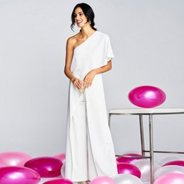 $enCountryForm.capitalKeyWord Australia - Elegant One Shoulder Ruffles Jumpsuit Casual Solid Female Body Wide Leg Long Pants Jumpsuit Women Office Lady Overalls Romper Y19060501