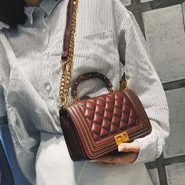 Classic Ladies Handbags NZ - Retro Female Bag 2019 Fashion Handbags High-quality Pu Leather Women Bag Classic Lozenge Lady Tote Bag Lock Chain Shoulder Bags