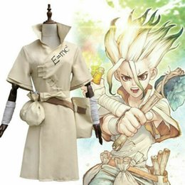 stone costumes Australia - Anime Dr Stone Senku Senkuu Outfit Suit + Bag Full Set Cosplay Costume Halloween