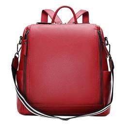 f7972fc7a0ca New Woman Shoulder Bag Striped Lanyard Strap Girls Bag Back Genuine Leather  Zipper Closure Female Red Purse Lady Travel Backpack
