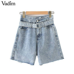 Fly Blue Australia - Vadim women summer stylish blue denim shorts sashes pockets decorate zipper fly dersign female casual pantalones cortos SA155 T519053003