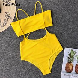 5c7f20e162fe58 6 Colors 2019 Sexy Bandeau Bikini Women Swimsuit Neon High Waist Swimwear  Cross Bandage Rompers Bikini Set Beach Bathing Suits Y19062901