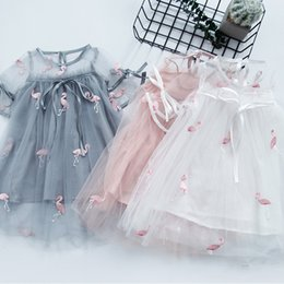 ball carton Australia - Girls Princess Dresses Kids Elegant Ball Gown Summer Short Sleeve See-through Bow Carton Embroidered One-piece 110cm-160cm
