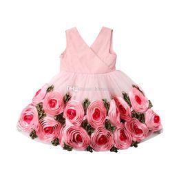 1d95c6a27 Ins Baby Girls Floral Princess Dress 2019 Kids Sleeveless 3D rose Flower  Wedding Party Prom Dresses Children Bow Pleated Dress C6119