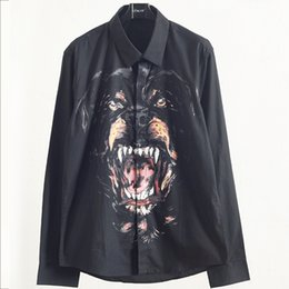 long collar shirts NZ - Luxury Mens Designer Shirts Autumn Male Dog Head Printing hococal Shirt Youth Square Collar Long Sleeves Shirts Black