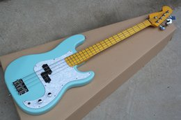 maple fingerboard white Canada - Factory New 4 strings Yellow Maple Fingerboard Green Body Electric Bass Guitar with Chrome hardware,White Pearl Pickguard,offer customize