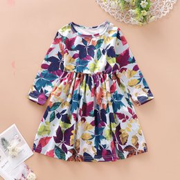 $enCountryForm.capitalKeyWord NZ - 2019 new baby skirt girls autumn casual wind long sleeve maple leaf printed cotton princess dress swing dress P08