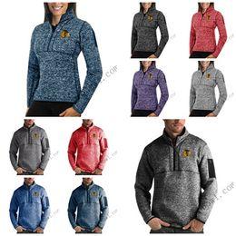 Full Zip Jacket Polyester NZ - Chicago Blackhawks Antigua Mens Womens Fortune Half-Zip Sweater Pullover Jackets- Heather Navy Charcoal Purple Grey Royal