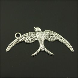 silver swallow charms Australia - 100pcs Charm Swallow Bird Swallow Pendant Charms For Jewelry Making Antique Silver Bird Charms 21x46mm
