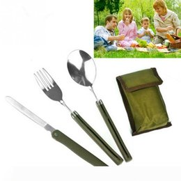 camping tableware portable knife fork spoon Canada - Wholesale Portable Mini Tableware Set outdoor Tool Folding Cutlery Set with Spoon Fork Knives for Camping Picnic Stainless Steel Talher FT04