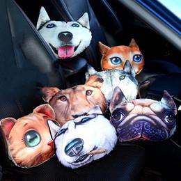 $enCountryForm.capitalKeyWord Australia - 25*25cm Car Pillow 3D With Animal Cat Dog Car Seat Neck Rest Cushion Carbon Bag Living Room Sofa Pillow Headrest Travel