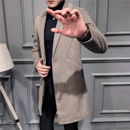 wool vest fashion Australia - Winter Youth en wool Wool midi men's woolen coat men's slim fashion brand coat