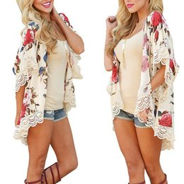 women blouse butterfly print Australia - New Fashion Women Floral Print Loose Kimono Cardigan Boho Chiffon Coat Jacket Blouse Oversized