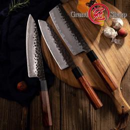 Chinese Kitchen Knife Set Australia - 3 PCS Kitchen Knife Set Japanese AUS10 Steel Chef Santoku Nakiri Kitchen Chef's Knives Cooking Wood Handle Gift Box Grandsharp