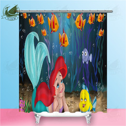 $enCountryForm.capitalKeyWord Australia - Vixm Cartoon Mermaid Shower Curtain Sea World Waterproof Bath Curtains for Bathroom Bathtub Bathing Cover Large Wide 12pcs Hooks